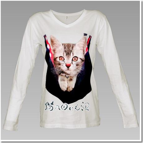 VラインTシャツ こねこのデザインTシャツ(ことわざ編 Part4)