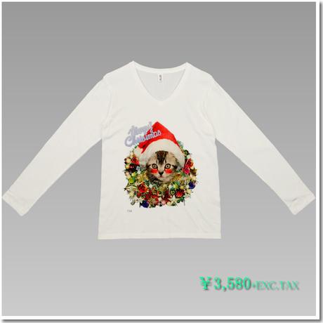 VラインTシャツ はにかみこねこのクリスマス(アメリカンショートヘア)