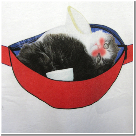 仔猫のデザインTシャツ(飲酒編 part2) 着心地の良い定番Tシャツにスコティッシュフォールトの仔猫をモチーフにウェストポーチでとっくりを抱えて酔った様子をパロディ化