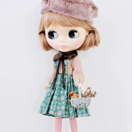 ティペット付き 春が待ち遠しい花(グリーン)ワンピース キット