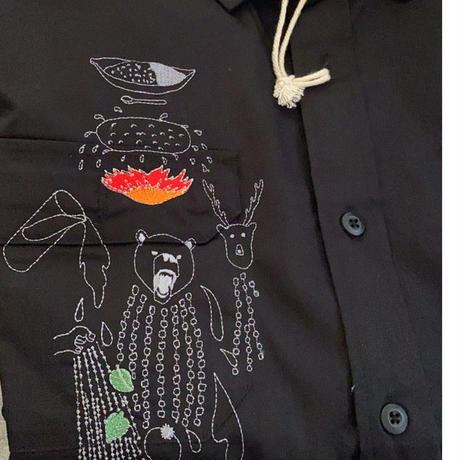 【カレーレシピ刺繍ワークシャツ 黒】8周年記念