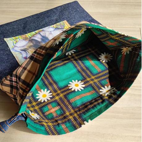 片ヒモ巾着袋(内生地付き)