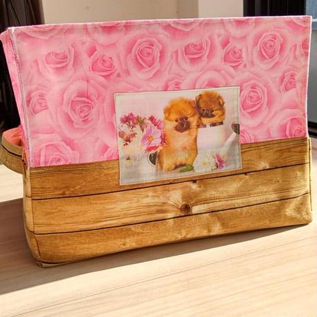 (母の日プレゼント) 布ボックス(大サイズ) ポメラニアンとバラの花柄