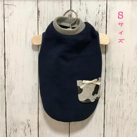 S・ワンコ服・モーモーポケットタンク(Sサイズ)(グレー、紺色)
