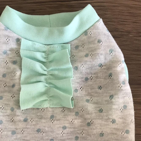 M・ワンコ服・タンク・透かしニット・パステルカラーフリル付き3色(Mサイズ)