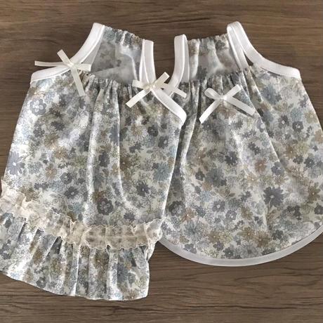 MS・ワンコ服・花柄キャミワンピ・裾フリル(MSサイズ)