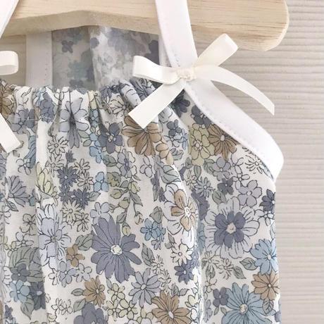 M・ワンコ服・花柄キャミワンピ・裾フリル(Mサイズ)