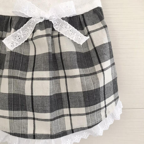 S・ワンコ服・白黒チェックワンピ(Sサイズ)