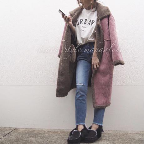 即納corduroy boa long coat