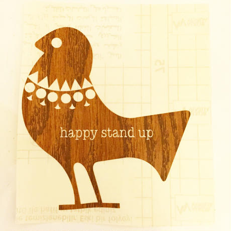 HappystandupWoodenSticker