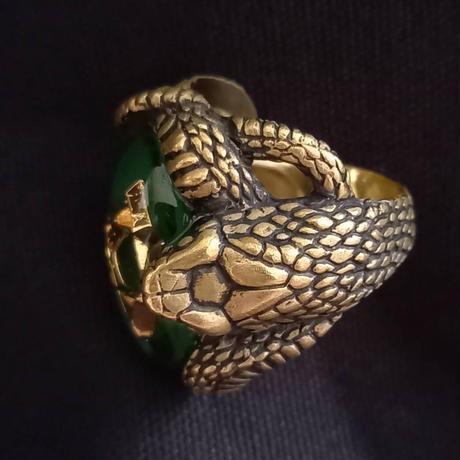 真・蛇リング GREEN(真鍮)