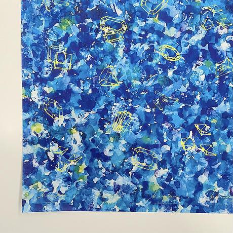 ハラペコラボの包装紙 -moe moe harapecolab peper 2021 Painted by Yuko Ikeda blue-(19)