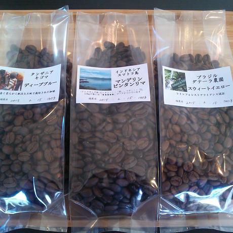 自家焙煎珈琲 高級珈琲豆 3種 1ヶ月お試しマンスリーパック 120g×3種
