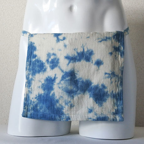 【土佐の草木染め】 室戸産藍絞り染め越中ふんどし 綿ダブルフェイス