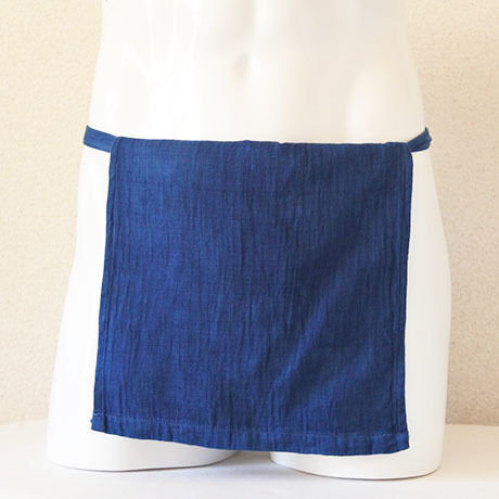 【土佐の草木染め】 室戸産藍染め越中ふんどし 綿ダブルフェイス