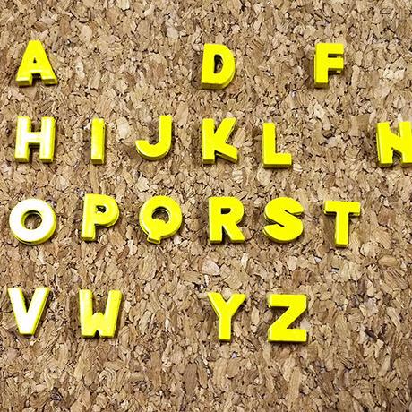 【8mmスライドチャーム】黄色アルファベット