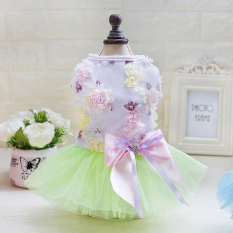 【犬のドレス】お花とリボンのグリーンラメチュチュサマードレス