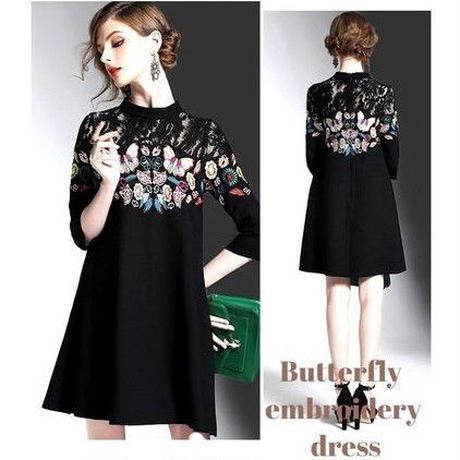 ■即日発送■蝶々柄刺繍ドレス 7分袖 Aライン ワンピース