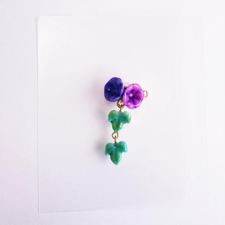 マスククリップ 朝顔 青紫×紫 葉っぱ二枚