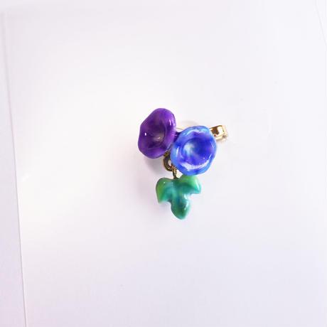 マスククリップ 朝顔 紫×青紫 葉っぱ一枚