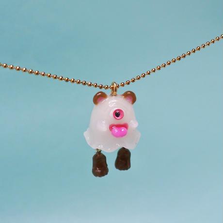 クマおばけちゃんネックレス(蓄光塗料使用)  (チェーン約60cm)