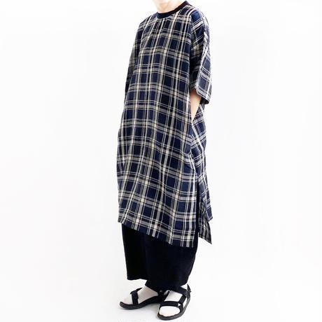 【2021春夏】SHORT SLEEVES LONG SMOCK LINEN PLAID(リネン チェック柄 半袖ロングスモック) A42102