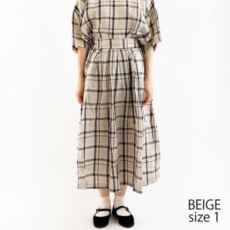 【2021春夏】LONG SKIRT LINEN PLAID(リネン チェック柄 ロングスカート) A22102