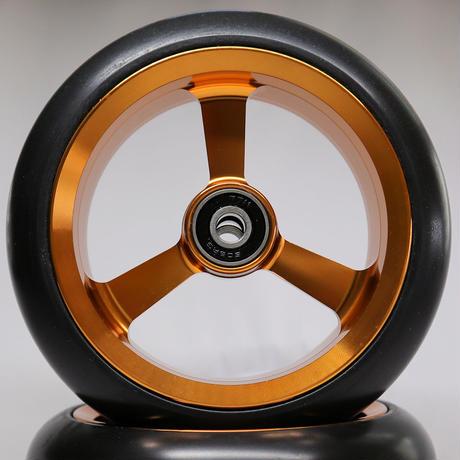 【dLITEキャスター】5インチ ゴールド 軽量・軽い転がり・リーズナブルな車いす用ワイドキャスター
