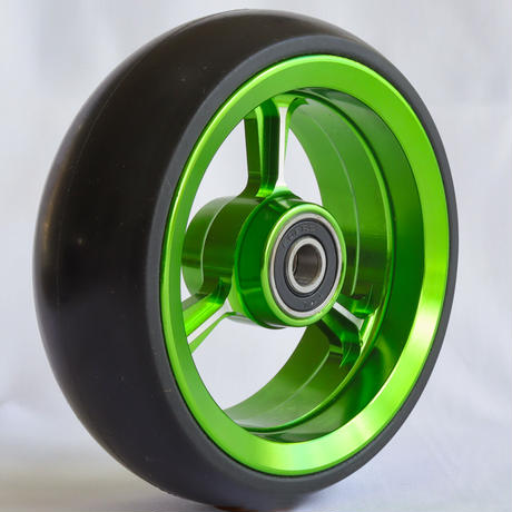 【dLITEキャスター】4インチ グリーン 軽量・軽い転がり・リーズナブルな車いす用ワイドキャスター