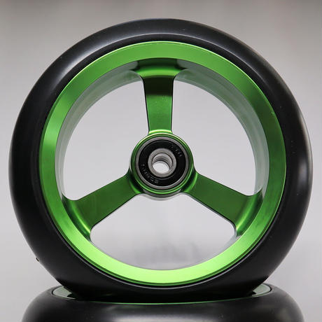 【dLITEキャスター】5インチ グリーン 軽量・軽い転がり・リーズナブルな車いす用ワイドキャスター