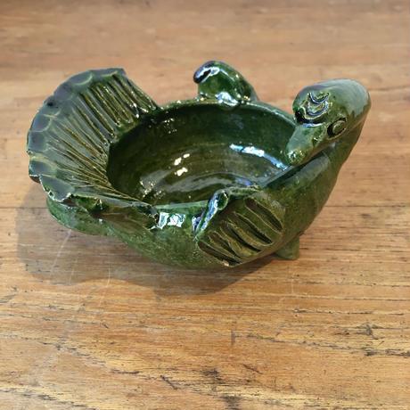 メキシコ オアハカ 陶器 グリーン 鳥オブジェ