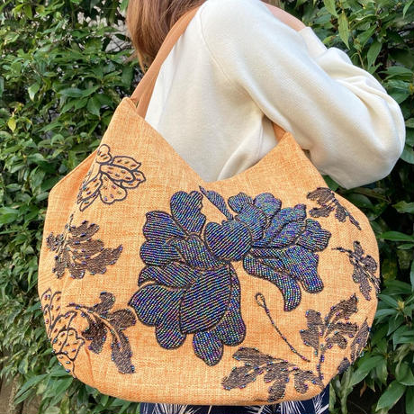 ビーズ刺繍トートバッグ(ライトブラウン)
