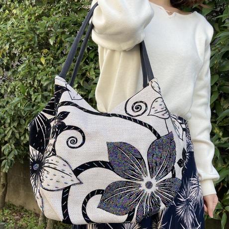 ビーズ刺繍トートバッグ(オフホワイト)