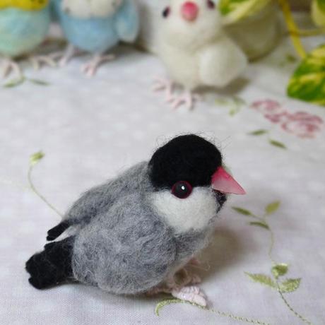 羊毛フェルトの小鳥 文鳥