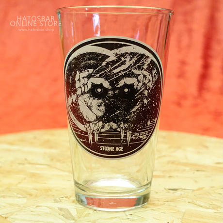 "HATOSBAR Original PINT GLASS ""STOONE AGE""art work by ragelow (hatos / daily workers)"