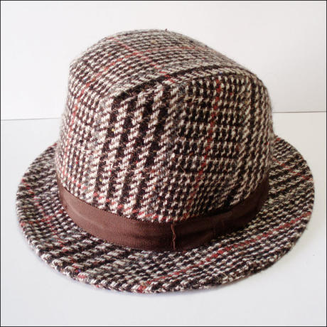 brown*check.wool-hat