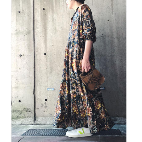 soeur スール LITCHI  花/鳥 柄ロングワンピース
