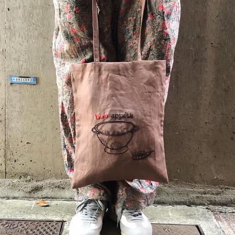 Manami.K リネン刺繍バッグ (ボナペティ)