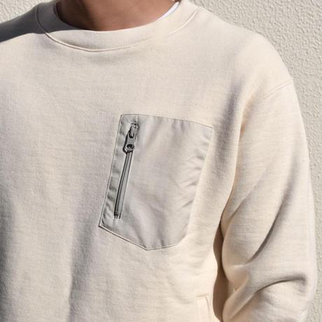【吊り編み】裏毛 ポケット クルーネック スウェット