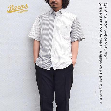 【2colors】 <BARNS> クレイジーストライプ 半袖 BDシャツ