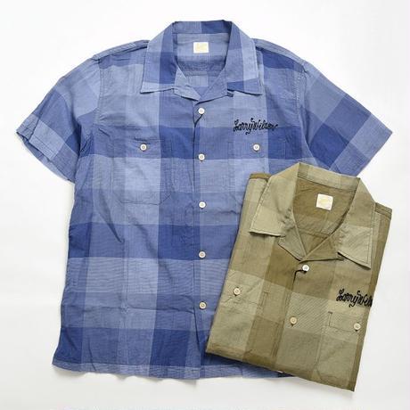 <BARNS> オープンカラー チェック 胸刺繍半袖シャツ
