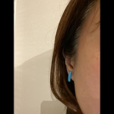 セラミックポストピアス 四角・ぷっくりブルー(SHI-P2)