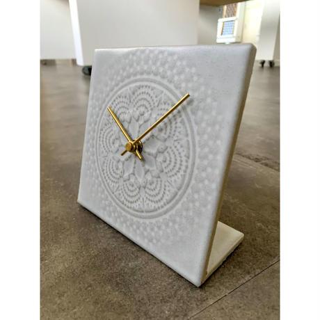 置き時計*LACE TILE CLOCK FOG-1RE(ホワイト)