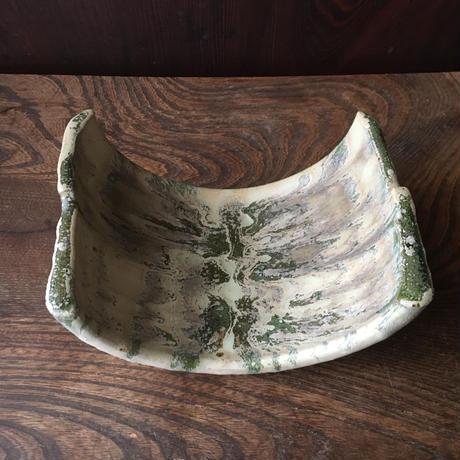 緑釉銀化半筒鉢