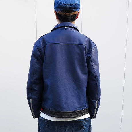 "INDIGO LEATHER JACKET ""BOREDOM2"""