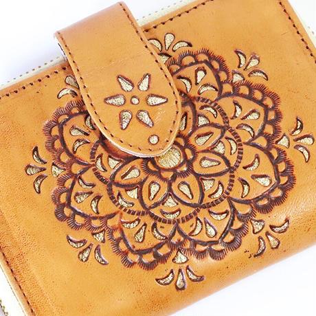 メタトロン宇宙財布/カービングシリーズ/フラワーオブライフ財布/二つ折り財布/ハーフサイズ/キャメル×ゴールド