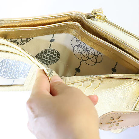 メタトロン宇宙財布/カービングシリーズ/フラワーオブライフ財布/二つ折り財布/ハーフサイズ/ナチュラル×ゴールド