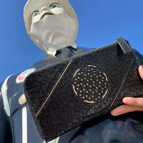 メタトロン宇宙財布/フラワーオブライフ財布/パイソン長財布/LF/幾何学モザイクブラック×ゴールド