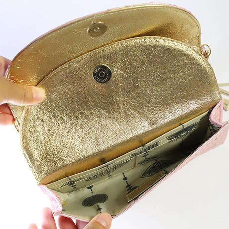 メタトロン宇宙財布/ドラゴン財布/パイソン長財布/WF/ラメ&パールピンクドラゴン×ゴールド