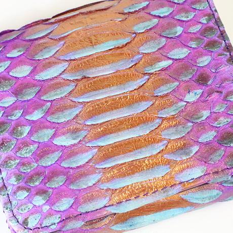 メタトロン宇宙財布/ドラゴン財布/パイソン二つ折り財布/MINI/パープルティファニーブルーブロンズドラゴン×パープル